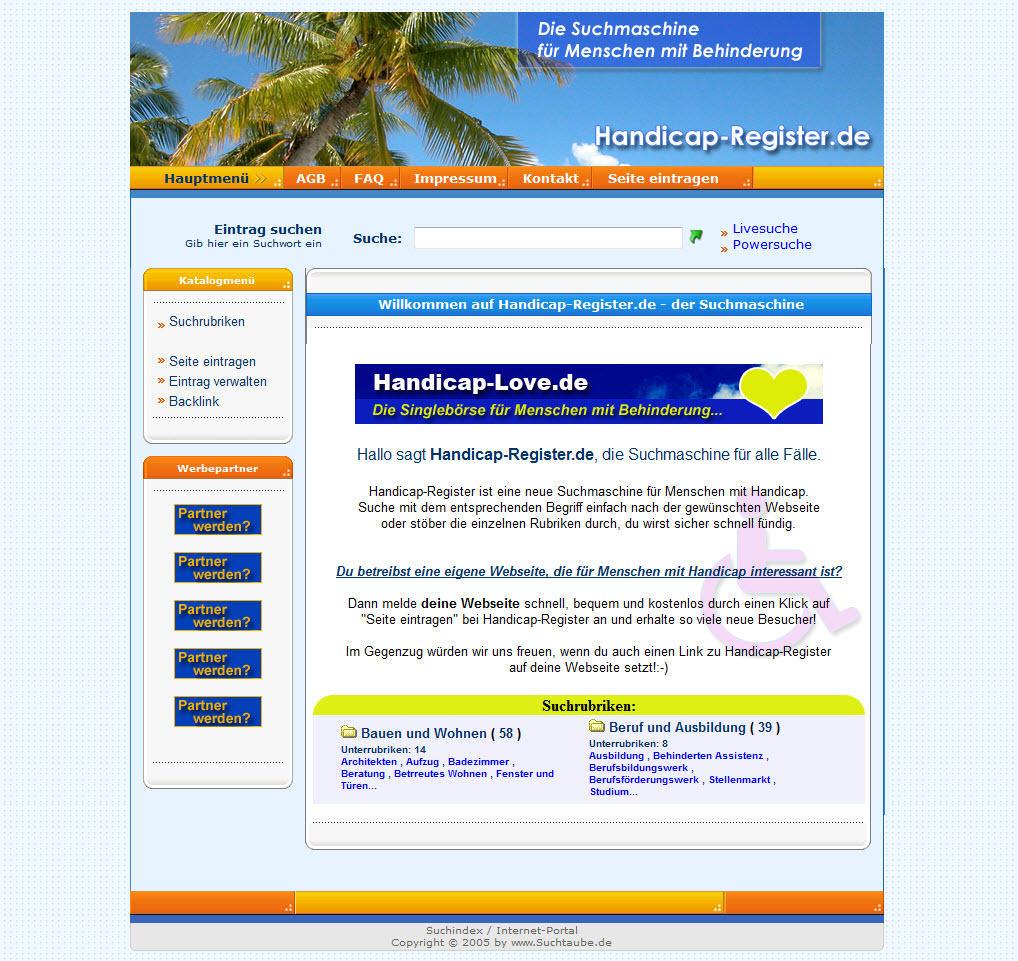 Homepage von Handicap-Register
