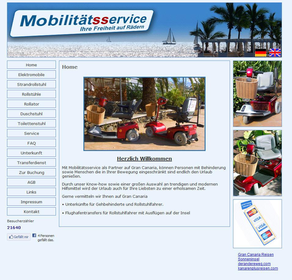 Homepage von Mobilitaetsservice auf Gran Canaria