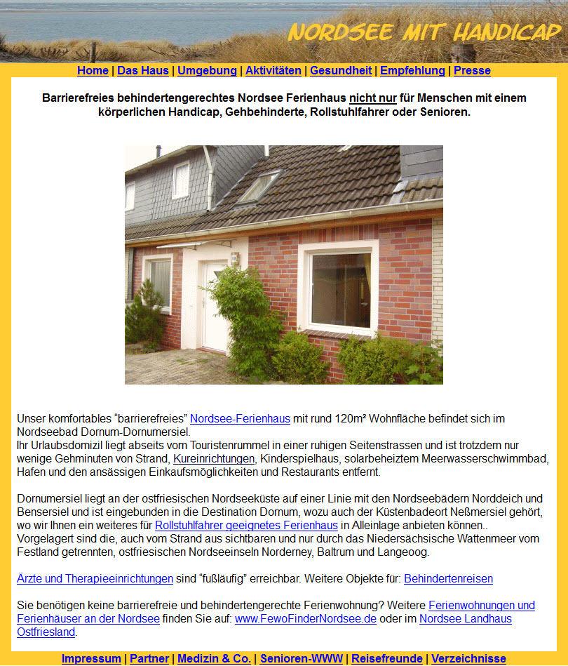 Homepage von Nordsee mit Handicap