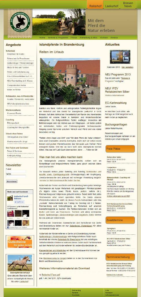 Homepage von Reiterhof Groß Briesen
