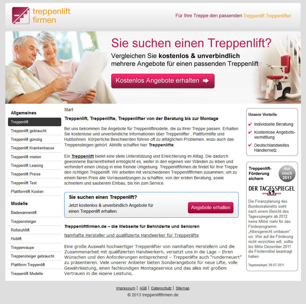 Homepage von Treppenlift Firmen