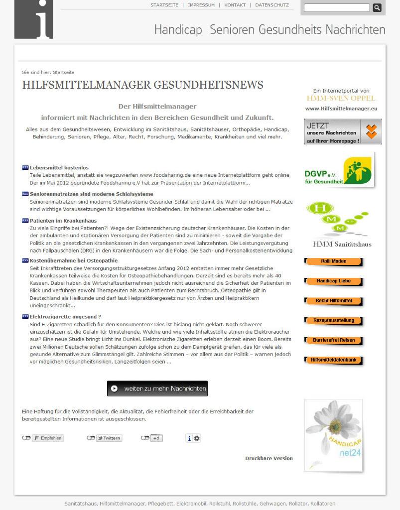 Homepage von Hilfsmittelmanager