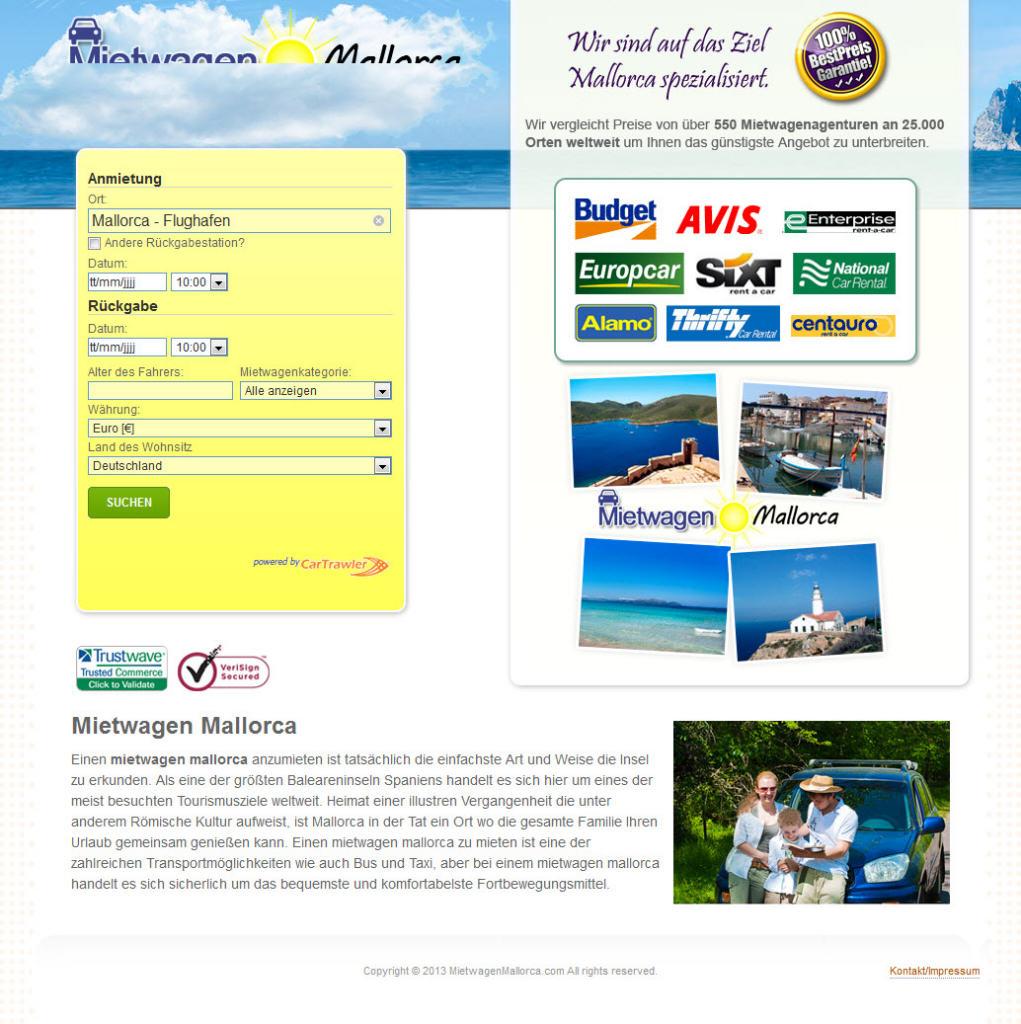 Homepage von Mietwagen Mallorca