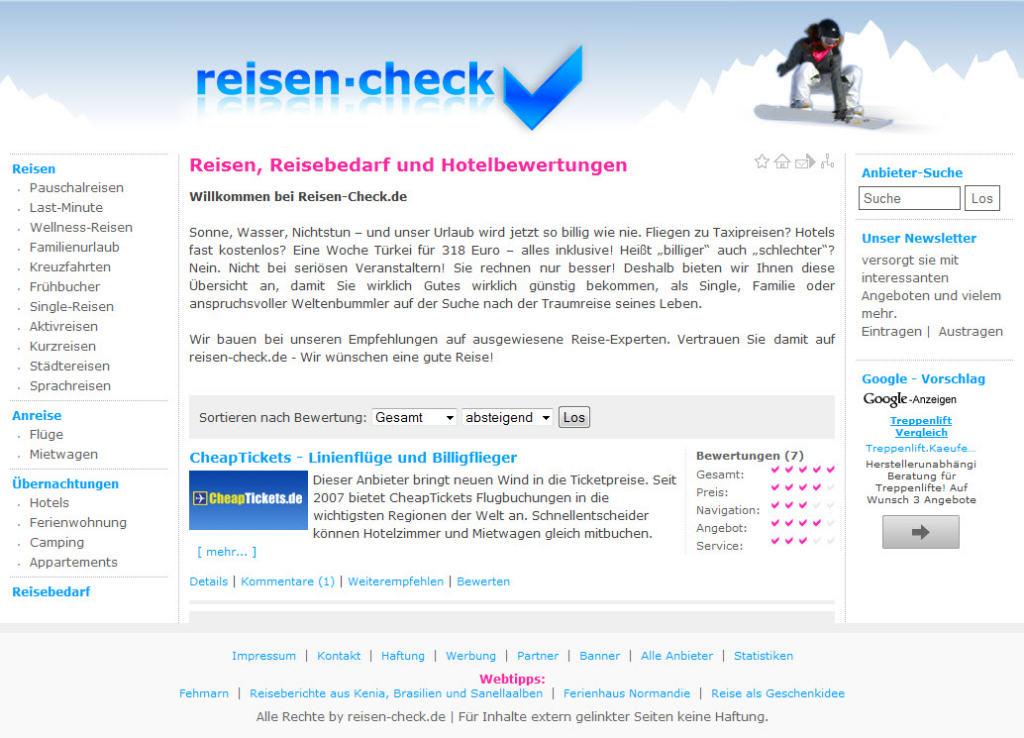 Homepage von Reisen Check